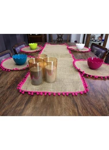 Giz Home Giz Home Ta57Fu E&C Jüt 4 Kişilik Ponponlu Kahve Runner Ve Supla Takımı Renkli
